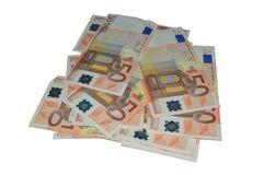 Cincuenta billetes de banco euro Imagenes de archivo