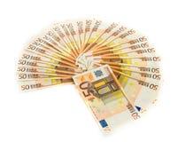 Cincuenta cuentas euro aisladas en el fondo blanco banknotes fotos de archivo libres de regalías