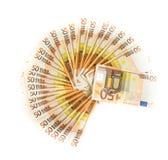 Cincuenta cuentas euro aisladas en el fondo blanco banknotes fotografía de archivo libre de regalías