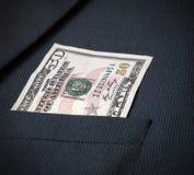 Cincuenta dólares americanos en la chaqueta de mis hombres del bolsillo Fotos de archivo libres de regalías