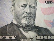 Cincuenta dólares Bill-Grant centrado Foto de archivo