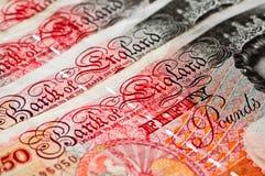Cincuenta libra esterlina - dinero en circulación BRITÁNICO - macro Imágenes de archivo libres de regalías