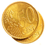 Cincuenta monedas euro del centavo Imagenes de archivo