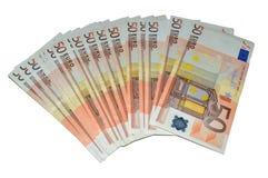 Cincuenta series euro de los billetes de banco Foto de archivo libre de regalías