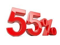 Cincuenta y cinco símbolos rojos del por ciento porcentaje del 55% Offe especial Fotos de archivo libres de regalías