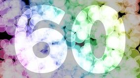 Cincuenta y nueve a sesenta años de cumpleaños se descoloran la animación de in/out con el fondo de mudanza del bokeh de la pendi ilustración del vector