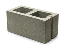 Cinder Block. Single Gray Concrete Cinder Block Isolated on White Background Royalty Free Stock Photography