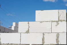 Cinder block wall construction Royalty Free Stock Photography
