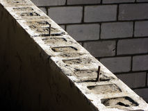Cinder Blocks House Concrete Foundation Wall  Royalty Free Stock Photography