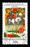 Cinder boy, Slovak National fairytales serie, circa 1968. MOSCOW, RUSSIA - AUGUST 18, 2018: A stamp printed in Czechoslovakia shows Cinder boy, Slovak National stock images