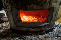 Cinder of charcoal after ignition Stock Images
