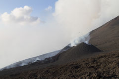 Cinder Cone on the eruptive fissure. Eruption of Volcano Etna in the month of July 2014 Royalty Free Stock Photos