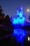 Cinderela's Castle in moonlight. Full Moon and Full Illumination of Disney Castle royalty free stock photography