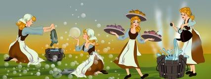 Cinderella και οι ατέρμονες εργασίες της στο σπίτι διανυσματική απεικόνιση