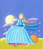 Cinderella. Acrylic illustration of Cinderella in the midnight Stock Photo