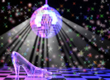 Cinderella. Glass Slipper With Disco Ball in Background,  Shallow DOF Royalty Free Stock Photos