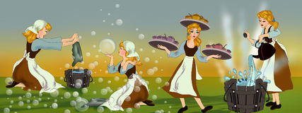 Free Cinderella And Her Never Ending Works At Home Royalty Free Stock Image - 98625776