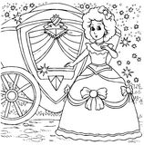 Cinderella before a ball. Black-and-white illustration (coloring page): Cinderella arrived at the ball in a carriage Stock Images