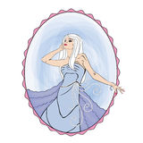 Cinderella. Blond woman in a oval frame vector illustration