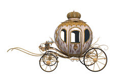 Cinderella Carriage. 3D digital render of a fairytale Cinderella's carriage isolated on white background Stock Photos