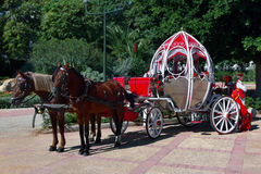 Cinderella carriage. A carriage drawn by a pair of horses, made by motifs from the stories of Cinderella exposed to the occasion on September 7, the day the Stock Photo