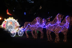 Cinderella carriage. The lights of the cinderella coach in the public garden of salerno in italy Royalty Free Stock Images