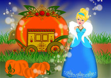 Cinderella carriage story. Pumpkin carriage in Cinderella story fairy tale concept isolated Royalty Free Stock Photo