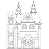 Cinderella Castle Coloring Book Page Photos stock