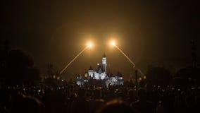 Cinderella Castle at Disneyland, Hong Kong. Fireworks in front of Cinderella Castle at Disneyland, Hong Kong Royalty Free Stock Images
