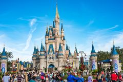 Cinderella Castle at The Magic Kingdom, Walt Disney World. Orlando, Florida: December 2, 2017: Cinderella Castle at The Magic Kingdom, Walt Disney World.  In Royalty Free Stock Images
