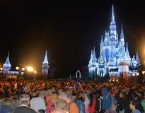 Cinderella Castle som är upplyst på natten, magiskt kungarike, Disney Royaltyfria Foton