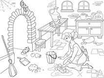 Cinderella cleans up the kitchen. The girl on the floor, around the mess. Cartoon coloring book. Cinderella cleans up the kitchen. The girl on the floor, around Royalty Free Stock Photo