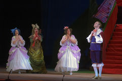 Cinderella. DNEPROPETROVSK, UKRAINE - DECEMBER 30: Members of the Dnepropetrovsk State Opera and Ballet Theatre perform CINDERELLA on December 30, 2013 in stock photo