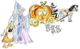 Cinderella e madrinha feericamente que fazem o transporte feericamente da abóbora fotografia de stock royalty free