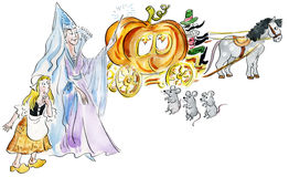 Cinderella and fairy godmother making fairy pumpkin carriage vector illustration
