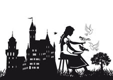 Cinderella fairy tale. Cartoon illustration of Cinderella with birds and castle in background, fairy tale scene Royalty Free Stock Image