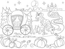 Cinderella fairy tale coloring book for children cartoon vector illustration. Black and white Royalty Free Stock Photography