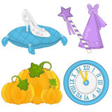 Cinderella Fairy Tale Set. Fairy Tale Elements Cinderella Set Stock Photo