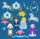 Cinderella  fairytale illustration set. Stock Images