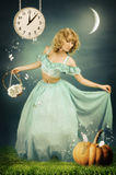 The Cinderella in fantastic wood. Beautiful girl dressed like a Cinderella in  the mysterious wood Royalty Free Stock Photo