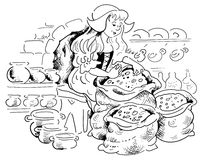 Cinderella by fireplace. Cinderella sorting beans by the fireplace Stock Photo