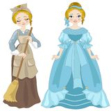 Cinderella. Illustration of Cinderella dressed as before and after the dance with the prince Stock Image