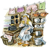 Cinderella in the kitchen Stock Photo