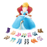 Cinderella with many shoes Stock Photos