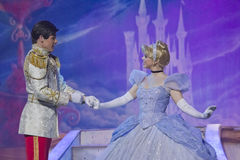 Cinderella meeting Prince Charming. GREEN BAY, WI - FEBRUARY 10: Cinderella in her pretty ball gown meeting Prince Charming at the Disney Princesses show at the Stock Images