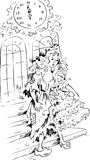 Cinderella in midnight. Wearing ball dress and glass slipper, transforming into rags Royalty Free Stock Photos