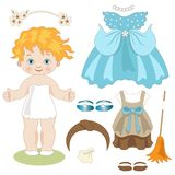 Cinderella - Paper doll with clothes before and after the dance Royalty Free Stock Photo