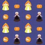 Cinderella pattern. Vector seamless checked pattern with Cinderella, pumpkin and shoe Royalty Free Stock Photos