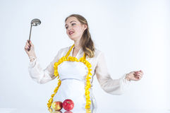 Cinderella. Photo of dreaming homemaker in kitchen on white background stock images