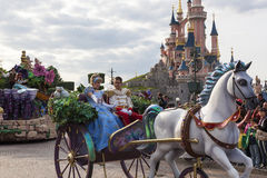 Cinderella and prince Charming. In Disnayland Paris parade Royalty Free Stock Image